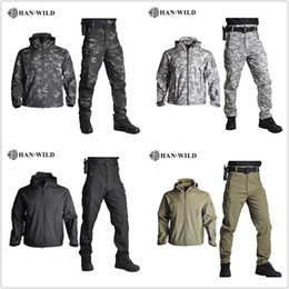 camouflage jacket pants set Canada - Fall-Tactical Softshell Men Army Sport Waterproof Hunting Clothes Set Jacket + Pants Camouflage Outdoor Jacket Suit