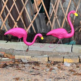 Wholesale 1 Pair Pink Plastic Flamingos Garden Courtyard Lawn Decoration Wedding Party Jardin Landscape Dressing Decorated Ornaments