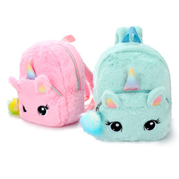 Discount soft fish baby toys 2020 Plush Unicorn Backpack Preschool Shoulder Bag Cute Animal Soft Toy Christmas Birthday Gift for Kids Toddler Baby Sc