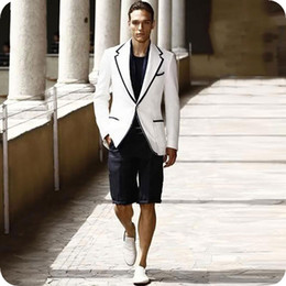 white suit wedding black groom NZ - Latest Designs White Men Suit Black Short Pants Groom Wedding Tuxedos Terno Masculino Costume Man Blazers Jacket 2piece Casual Evening Party