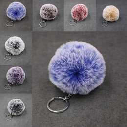 Wholesale Free DHL Fur Fluffy Keychain Charm Alloy Ring Fluffy Fur Ball Wallet Bag Phone Car Bag Pendant Accessories Colors For Choose B554F Y