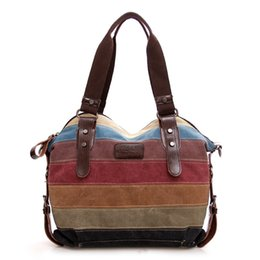 Fashion Canvas Bag Brand Women Handbag Patchwork Casual Women Shoulder Bags  Female Messenger Bag Ladies 2019 Rainbow Purse Pouch 1abcb7fb9a5d8