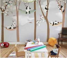 Büyük Sevimli Panda Ağaçları 3D Karikatür Duvar Resimleri Duvar Kağıdı Bebek Çocuk Odası için 3d Duvar Fotoğraf Duvar Duvar kağıd ... indirimde