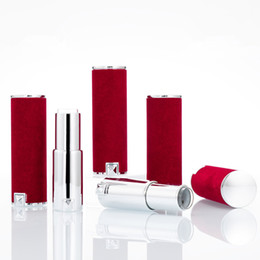 red plastic lips Canada - 12.1mm Red velvet High Quality Lipstick Tube, Cuboid Lip Balm Container, Packaging Plastic Bottle Fast Shipping F3716