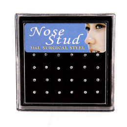 Nose packs online shopping - 24 pieces pack mm Nose Ring Set Women Girl Crystal Stainless Surgical Steel Nose Piercing Crystal Nose Stud Body Jewelry