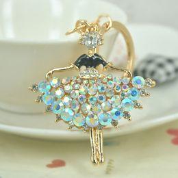 Discount ballet gifts for girls - New Hot Jewelry For Women Rhinestone Crystal Ballet Girl Dancer Keychain Keyring Car Handbag Chram Key Holder Party Gift