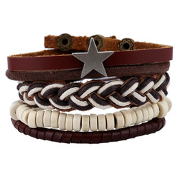 $enCountryForm.capitalKeyWord NZ - Star Decorated White Beads Bracelets Collection Weaving Twine Beads Bangle Punk Style Fashion Mens Charm Bracelet B11