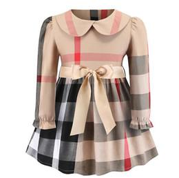$enCountryForm.capitalKeyWord Australia - Spring and Autumn Hot Girl Bow European and American Long Sleeve Classic Plaid Cotton Dress