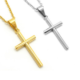 christian cross necklace women NZ - New Stainless Steel Cross Necklace Pendant Men Women Gold Silver Color Crystal Link Chain Prayer Necklaces Christian Jewelry
