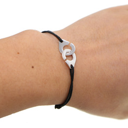 handcuffed bracelet Australia - Wholesale- Brand 925 silver Jewelry Silver Handcuff Bracelet For Women Men adjustable size Rope Bracelet Silver Bracelet Menottes
