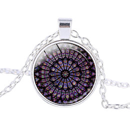 jewelry france paris 2021 - Notre Dame de Paris Pendant Necklace Rose Window Stained Glass Notre Dame de Paris Cathedral Classic Statement Jewelry G