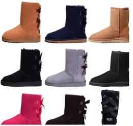 $enCountryForm.capitalKeyWord Australia - 2019 Designer Women Winter Snow Boots Fashion Australia Classic Short bow boots Ankle Knee Bow girl MINI Bailey Boot SIZE 35-41 free ship