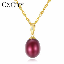 $enCountryForm.capitalKeyWord Australia - Czcity 18k Yellow Gold Pendant Six Colors Natural Freshwater Pearl Pendant Free 925 Water Wave Necklace 40+5cm Gift For Women T190701