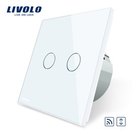 Wall Curtains UK - Livolo EU Standard Touch led remote curtains Switch, AC 220~250V,White Crystal Glass Panel, No remote controller