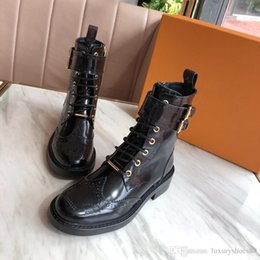 shoes boots style Australia - Top quality fashion casual shoes luxury ladies booties leather platform Martin boots laser punching style motorcycle boots size 35-40