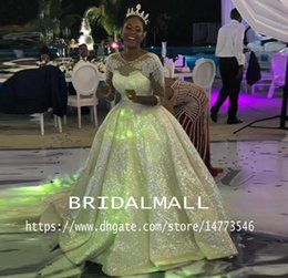 $enCountryForm.capitalKeyWord Australia - Plus Size Sequined African Wedding Dresses With 3 4 Long Sleeves Elegant Appliqued Lace A Line Boho Bridal Gowns Court Train Bride Dresses