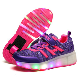 Wheel boys shoes online shopping - Kids LED Lights Roller Shoes Children Roller Skate Sneakers with Single Wheels Glowing Led Light Up for Boys Girls Running Shoes