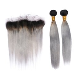 $enCountryForm.capitalKeyWord UK - Silky Straight Black and Grey Color Hair Extensions With Lace Frontal Ombre Two Color 1B Grey Ear To Ear Lace Frontal With 2Bundles