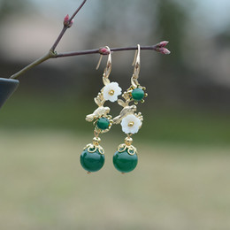Chinese Style Dangling Earrings Australia - Chinese National Style Pure Silver Long Style Simple Hundred-tie Earrings Retro Creative Design Temperament Flower Oriental Women Earrings