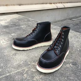 f260f3c926a Goodyear-Welted Vintage Genuine Leather Ankle Motorcycle Boots Top Quality  Wings Round Toe Men Casual Dress Work Red Boots Shoes