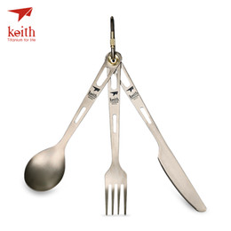 camping spork knife NZ - Keith 3 In 1 Titanium Spoon Fork Knife Cutlery Sets With Carabiner Picnic BBQ Camping Cutlery Outdoor Tableware Spork Ti5310