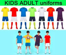 blank kids shirts NZ - Hotselling Wholesale man kids kit Blank Soccer jersey uniforms customized team logo Jersey set Uniform Camisetas de Football Shirts on sale