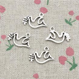Peace Dove Pendant Australia - 180pcs Charms peace dove olive 20*13mm Tibetan Silver Vintage Pendants For Jewelry Making DIY Bracelet Necklace