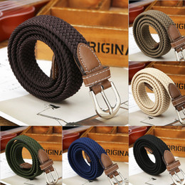 "$enCountryForm.capitalKeyWord NZ - Men Blue Elastic Stretch Waist Belt Canvas Stretch Braided Elastic Woven Leather Belt 1-3 8"" Wide Hot Metal For Men"