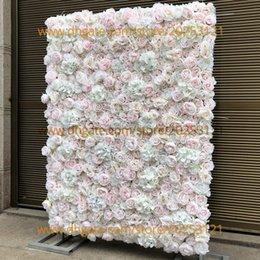 Ingrosso 12 pz / lotto 3d fiore artificiale muro di nozze fai da te sfondo nuovo ortensie bicuculline peonia prato pilastro finto fiore piatto strada piombo casa