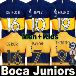 Soccer boca online shopping - Camiseta Boca Juniors soccer jersey DE ROSSI TEVEZ PAVON BENEDETTO MAURO GAGO OSVALDO PEREZ football shirt Men Kids kit set
