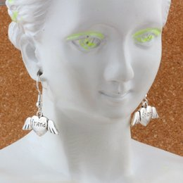 Earrings Ear angEls online shopping - Angel wings friend heart Charm Earrings silver Fish Ear Hook pairs Antique silver Chandelier DIY Jewelry x29mm A e