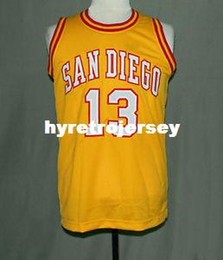 basketball jersey size 4xl NZ - san diego 13 Wilt Chamberlain yellow Basketball Jersey All Size Embroidery Stitched Customize any name and name XS-6XL vest Jerseys