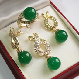 beautiful pendant sets Australia - Hot! beautiful new jewelry silver plated 12mm green jade pendant, earring, , ring set