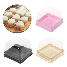 Wholesale Boxes Packaging Australia - 50g Square Moon Cake Trays Mooncake Packaging Box Container Holder With Covers Plastic Moon Cake Boxes 50 Sets