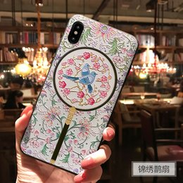 Fan For Iphone Australia - New in 2019, Chinese Style iPhone shatter-resistant Cover creative painted embossed magpie fan for phone cases