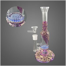 Chinese  Charming Purple Bong Heady Glass Bongs 23cm Height Green Honeycomb Perc Glass Waterpipe 14.5mm Female Joint Violet Gold Mini Dab Rig GB-595 manufacturers