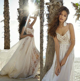 Rish 219 espaguete boêmio vestidos de casamento da praia do verão uma linha barato chiffon rendas país vestidos de noiva longas tiras vestido de noiva boho venda por atacado