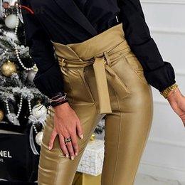 Großhandel InstaHot Gold Schwarzer Gürtel Hohe Taille Bleistift Hose Frauen Kunstleder PU Schärpen Lange Hosen Casual Sexy Exklusives Design Mode