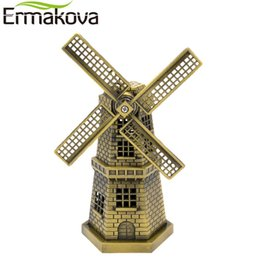 Decor Ornament UK - Ermakova 18cm(7 Inch) Antique Bronze Dutch Model Metal Figurine Furnishing Article Holland Windmill Home Decor Ornament Q190610