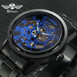 $enCountryForm.capitalKeyWord NZ - 2019 Winner Mechanical Watches For Men Hand-wind Steel Watches Roman Number Skeleton Wristwatches Luminous Hands Reloj Hombre SH190730