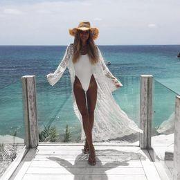 Discount beach blouses women - Women Romantic Chiffon Kimono Summer Lace Beach Holiday Cardigan Wrap Long Blouse