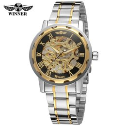 Watches Luxury Skeleton Man Australia - Winner Gold Transparent Watch Mens Watches Top Brand Luxury Relogio Male Clock Men Casual Watch Mechanical Skeleton Montre Homme
