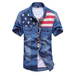 New jeaNs shirt for meN online shopping - T Shirts for Men Summer New Denim Shirt Double Pocket Stitching Color Designer Men Shirt Short Sleeve Jeans Shirt