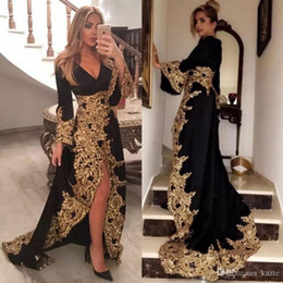 Fabulous Prom Dresses Australia - Fabulous Black Side Split Evening Dresses With Long Sleeves V Neck Plus Size Prom Gowns Sweep Train Gold Lace Appliqued Formal Dress
