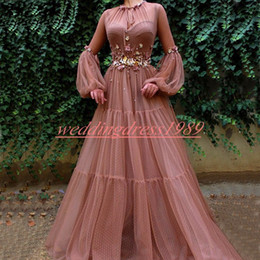 Discount junior models pageant - Exquisite Puffy Long Sleeve Evening Dresses Flower Sheer African Formal Pageant Party Dress Plus Size Prom Juniors Gowns