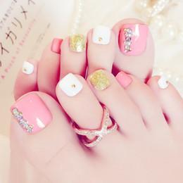 $enCountryForm.capitalKeyWord NZ - 2019 Toe nail film finished Japanese and Korean fashion pink patch lasting waterproof J59 powder gold white diamond