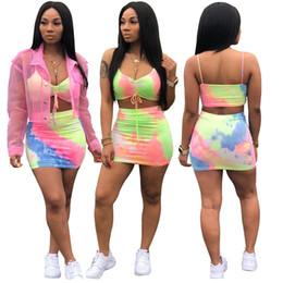 $enCountryForm.capitalKeyWord NZ - Tie Dye Sexy 2 Piece Dress Summer Spaghetti Strap Sleeveless Short Top And Mini Party Skirts Women Beach Casual Outfit