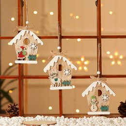 paintings old ships NZ - Christmas Decorations Wooden House Painted Old Man Snowman Elk Pendant Xmas Tree Ornaments Free Shipping