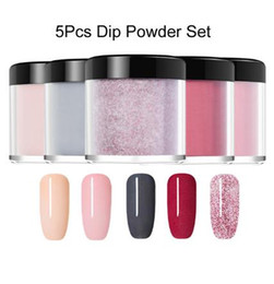 Wholesale 5Pcs Set Dipping System Dip Nail Powder With Base Top Activator Brush Saver Liquid Natural Dry Without Lamp Glitter
