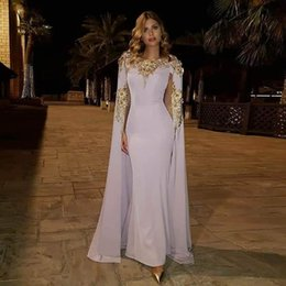$enCountryForm.capitalKeyWord Australia - Elegant Abiye Long Mermaid Prom Gowns 2019 With Cloak Sparkle Gold Flower Elegant Formal Party Dresses Robe De Soiree